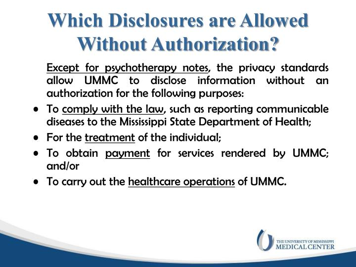 Which Disclosures are Allowed Without Authorization?