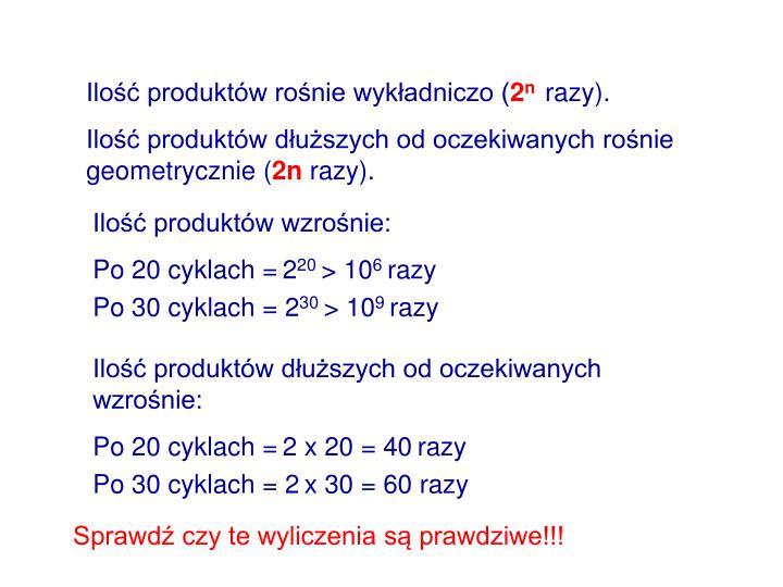 Ilość produktów rośnie wykładniczo (