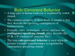 rule governed behavior