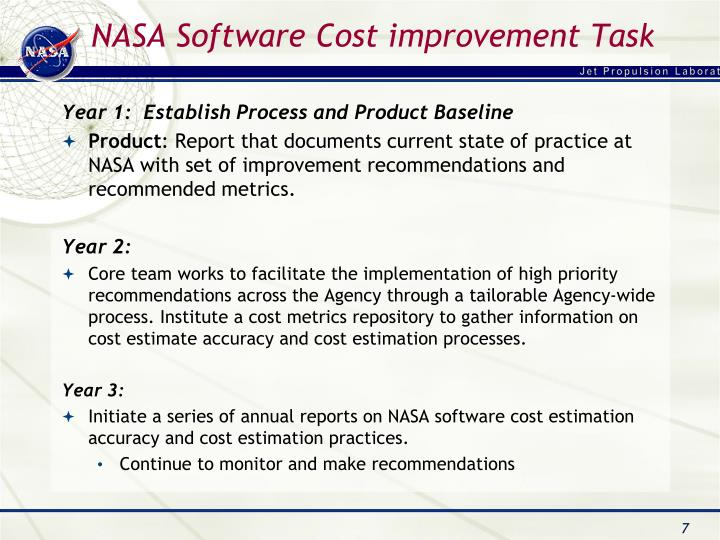 NASA Software Cost improvement Task