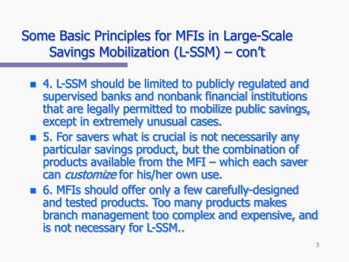 Some basic principles for mfis in large scale savings mobilization l ssm con t
