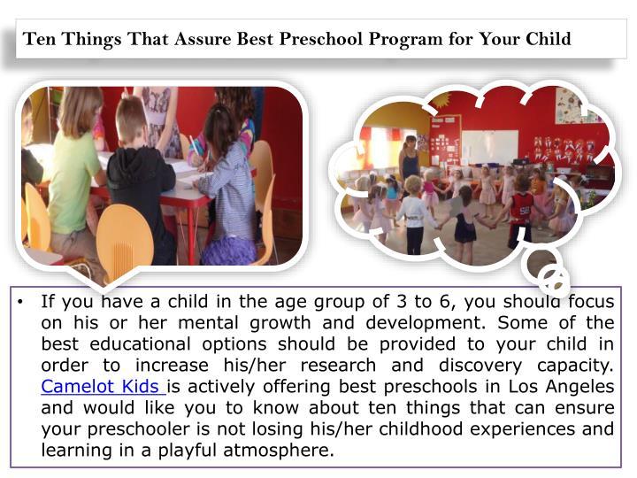 Ten things that assure best preschool program for your child