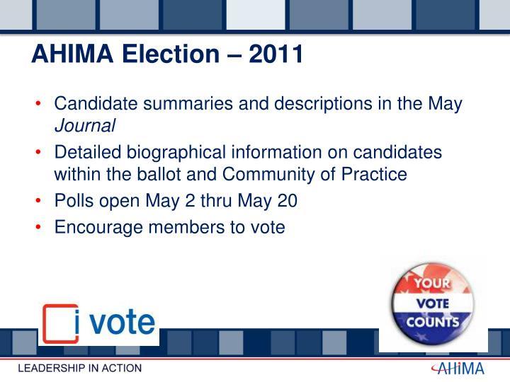 AHIMA Election – 2011