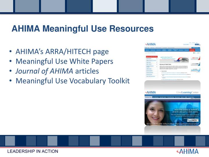 AHIMA Meaningful Use Resources