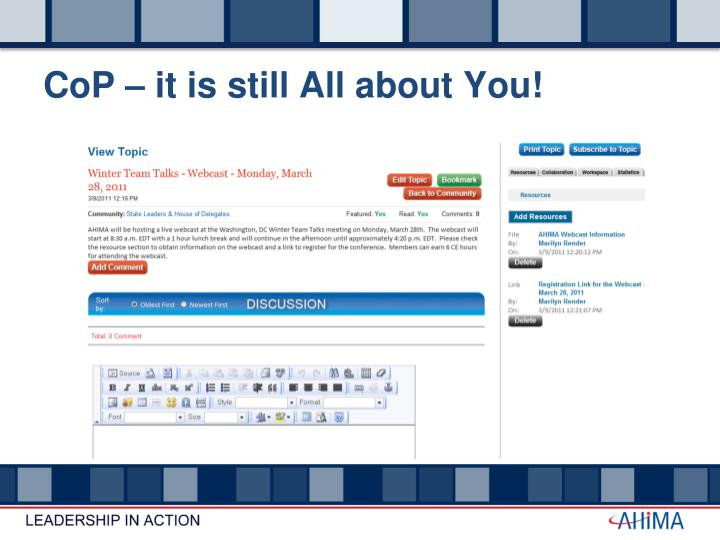 CoP – it is still All about You!