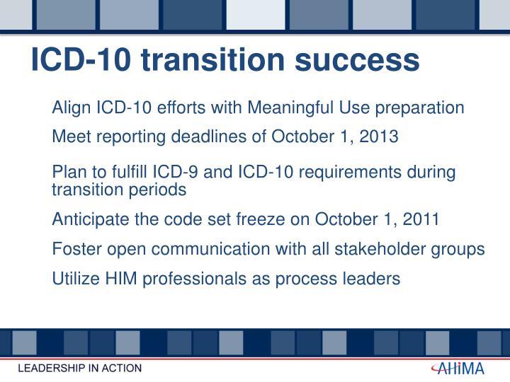 ICD-10 transition success