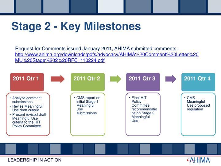 Stage 2 - Key Milestones