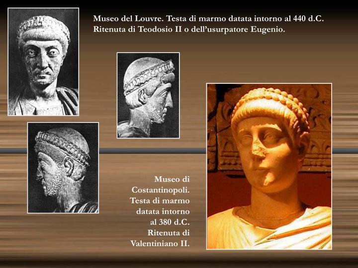 Museo del Louvre. Testa di marmo datata intorno al 440 d.C.