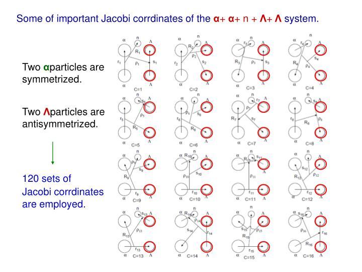 Some of important Jacobi corrdinates of the