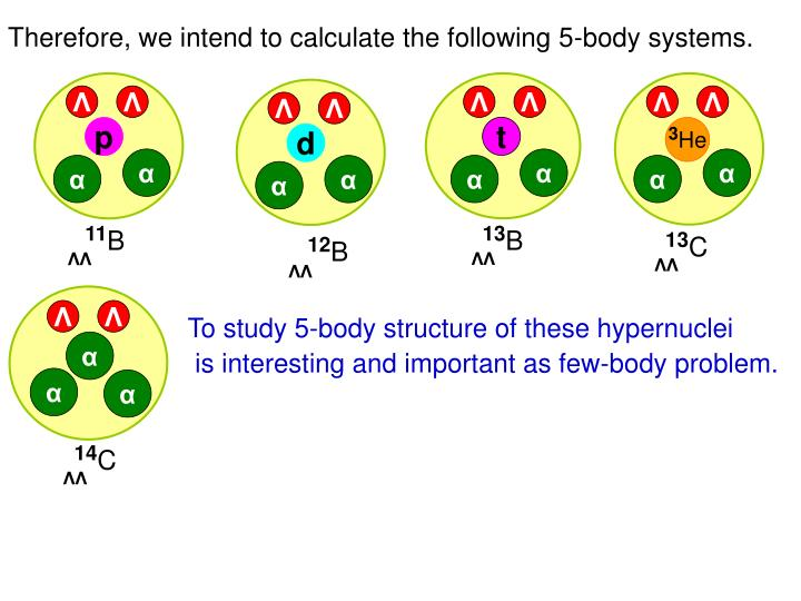 Therefore, we intend to calculate the following 5-body systems.