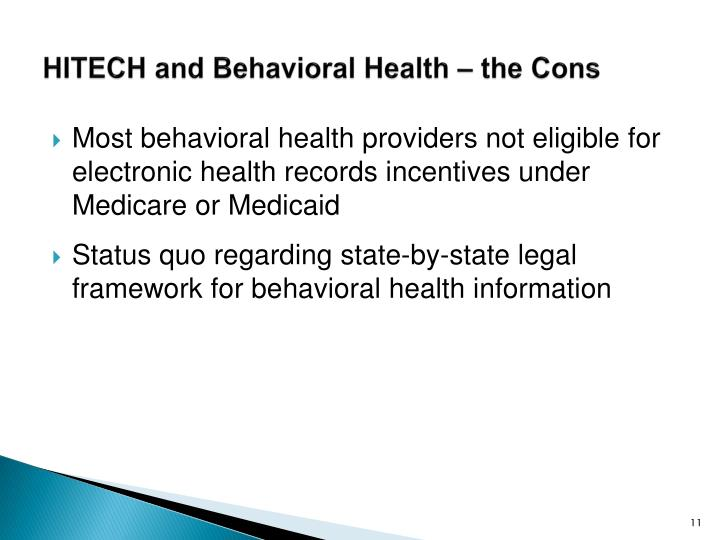 HITECH and Behavioral Health – the Cons