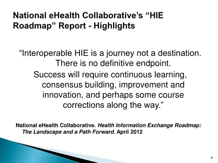 """National eHealth Collaborative's """"HIE Roadmap"""" Report - Highlights"""
