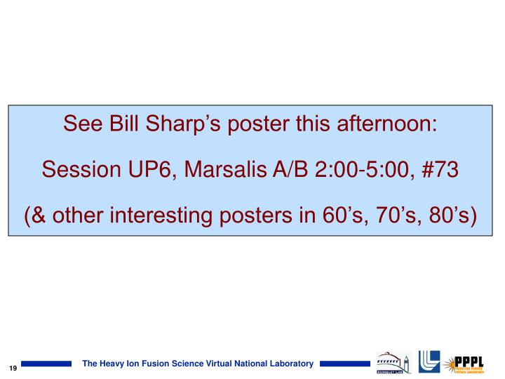 See Bill Sharp's poster this afternoon: