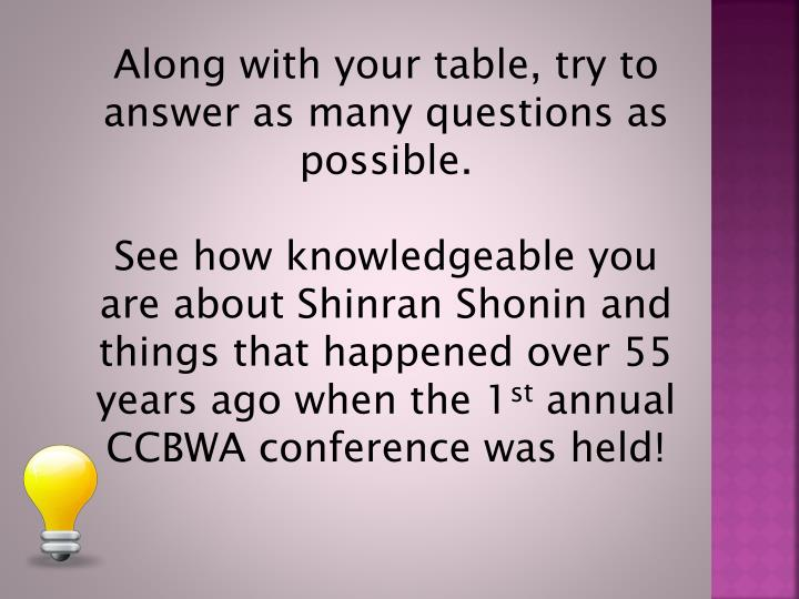 Along with your table, try to answer as many questions as possible.