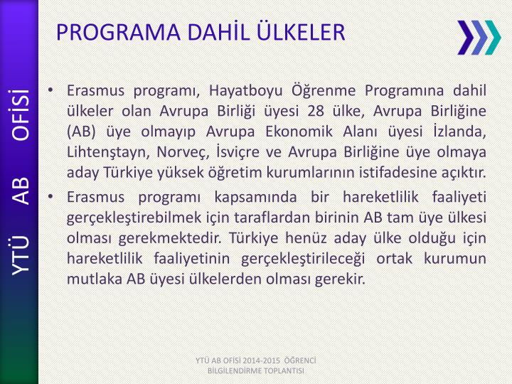 PROGRAMA DAHİL ÜLKELER