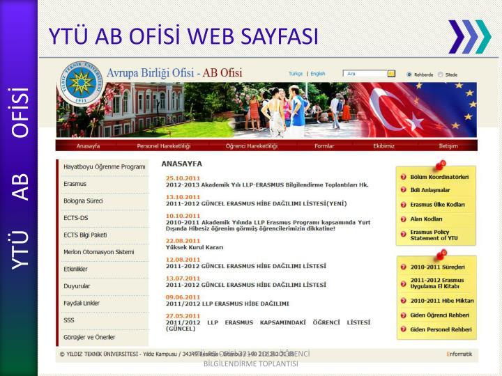 YTÜ AB OFİSİ WEB SAYFASI