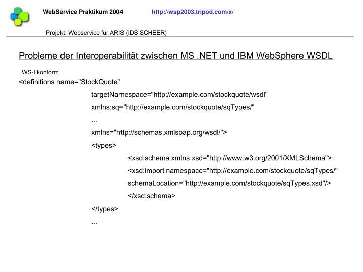 Probleme der Interoperabilität zwischen MS .NET und IBM WebSphere WSDL