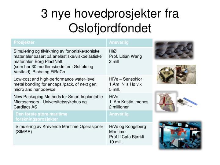 3 nye hovedprosjekter fra Oslofjordfondet