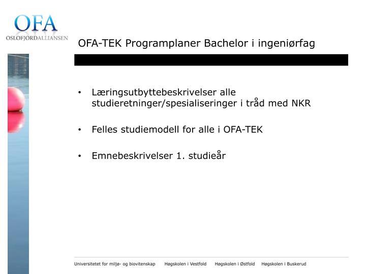 OFA-TEK Programplaner Bachelor i ingeniørfag