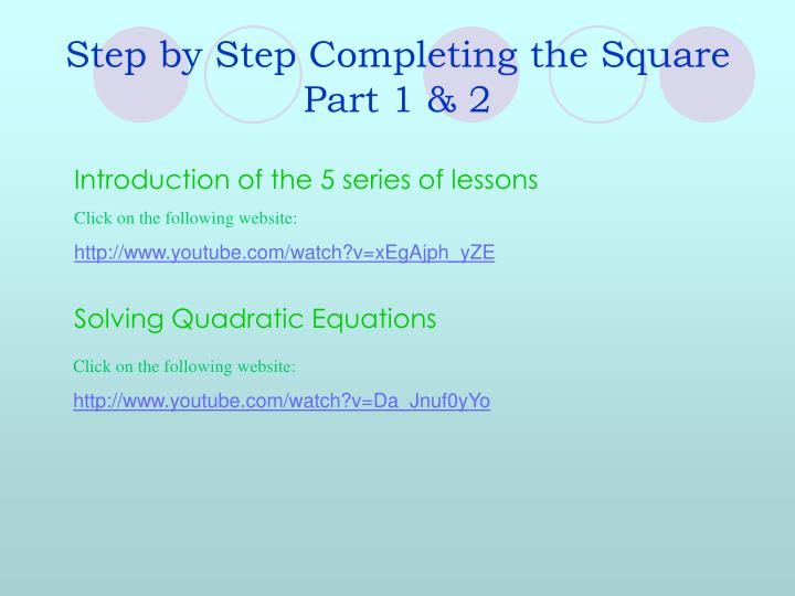 Step by step completing the square part 1 2