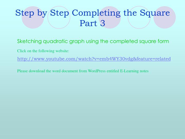Step by Step Completing the Square