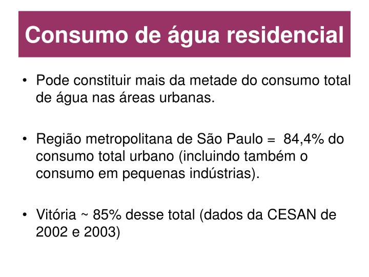 Consumo de água residencial