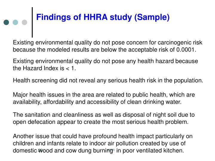 Findings Of HHRA Study (Sample) ...