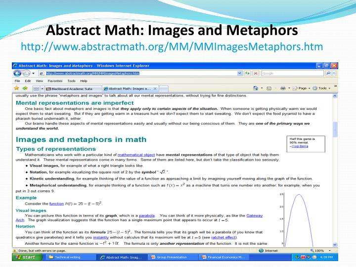 Abstract Math: Images and Metaphors