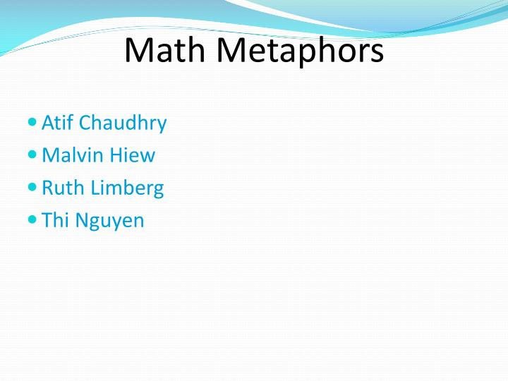 Math metaphors