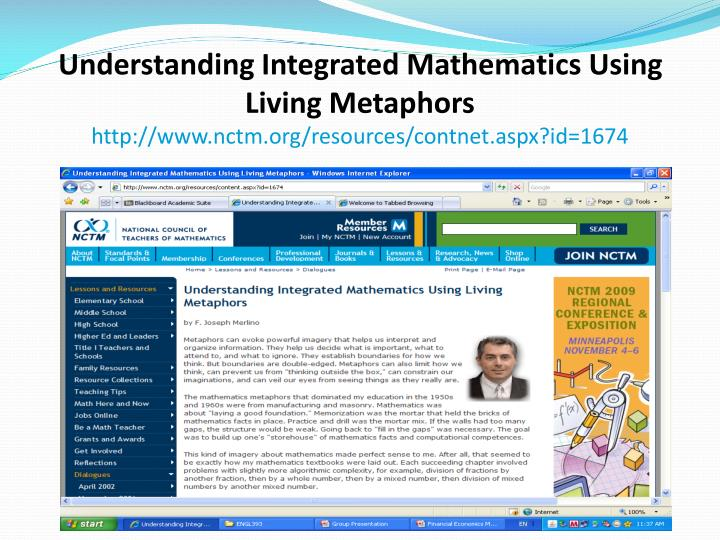 Understanding Integrated Mathematics Using Living Metaphors