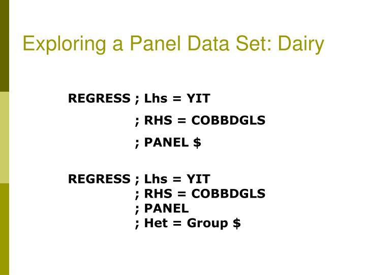 Exploring a Panel Data Set: Dairy