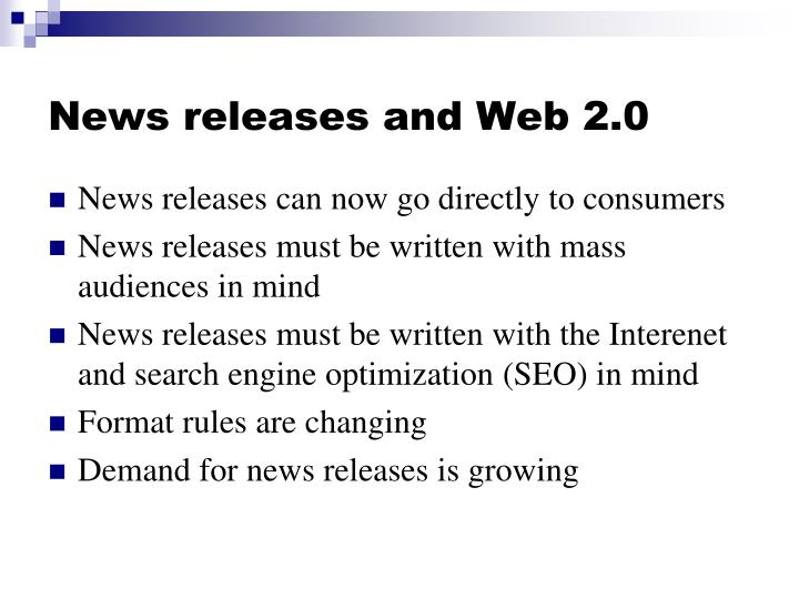 News releases and Web 2.0