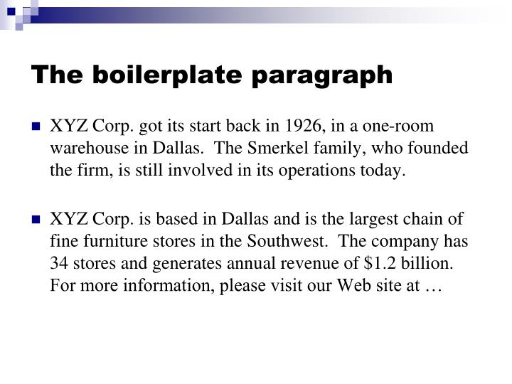 The boilerplate paragraph