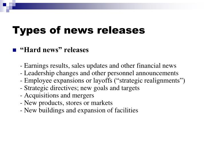 Types of news releases