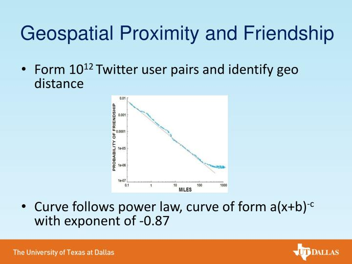 Geospatial Proximity and Friendship