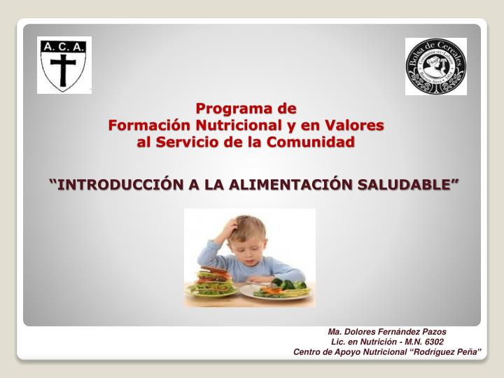 programa de formaci n nutricional y en valores al servicio de la comunidad n.