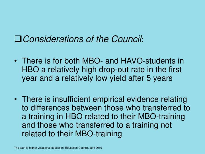 Considerations of the Council