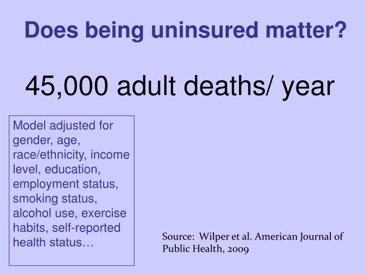 Does being uninsured matter?