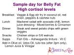 sample day for belly fat high cortisol levels