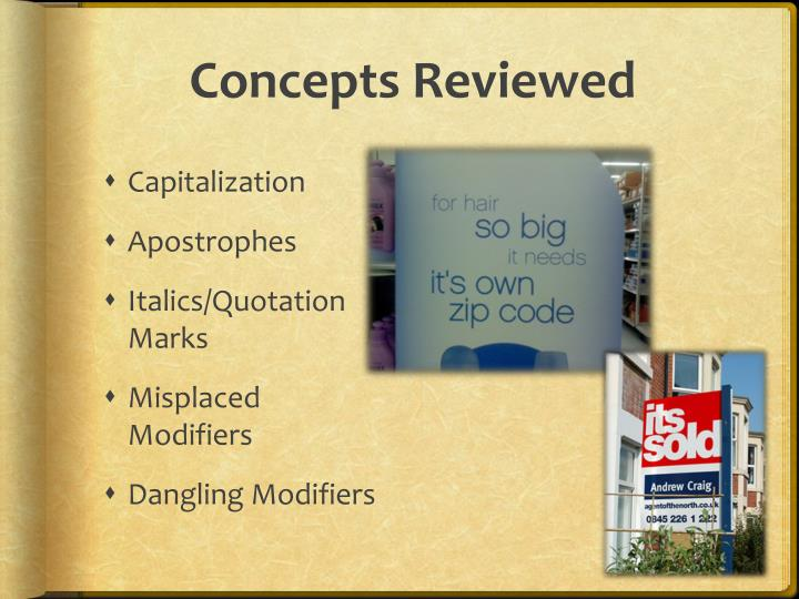 Concepts reviewed