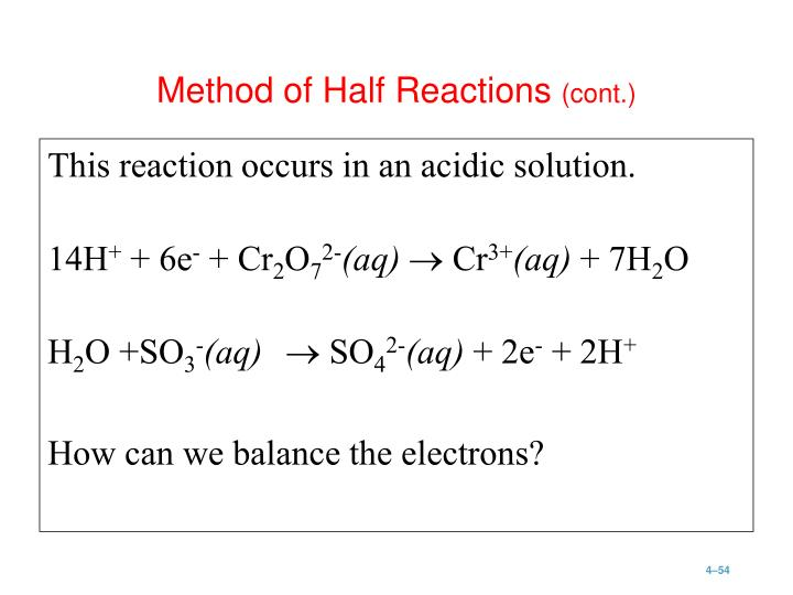 This reaction occurs in an acidic solution.