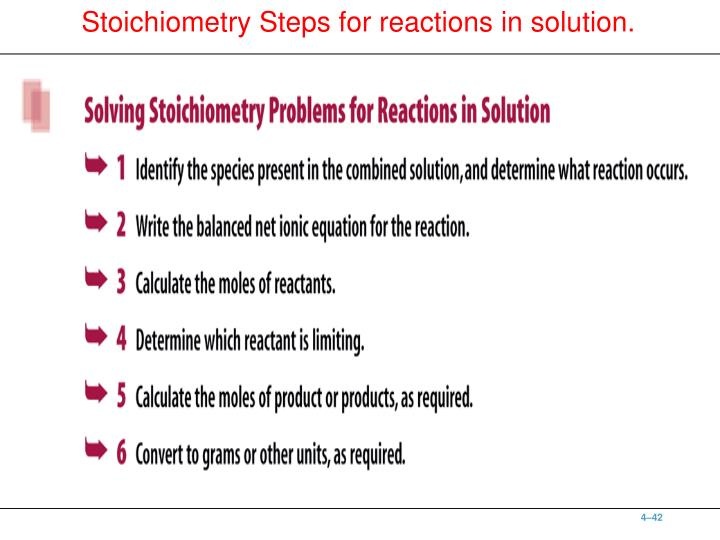 Stoichiometry Steps for reactions in solution.