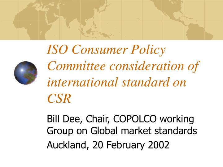 iso consumer policy committee consideration of international standard on csr n.