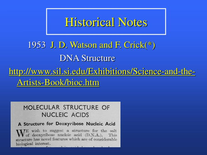 Historical Notes