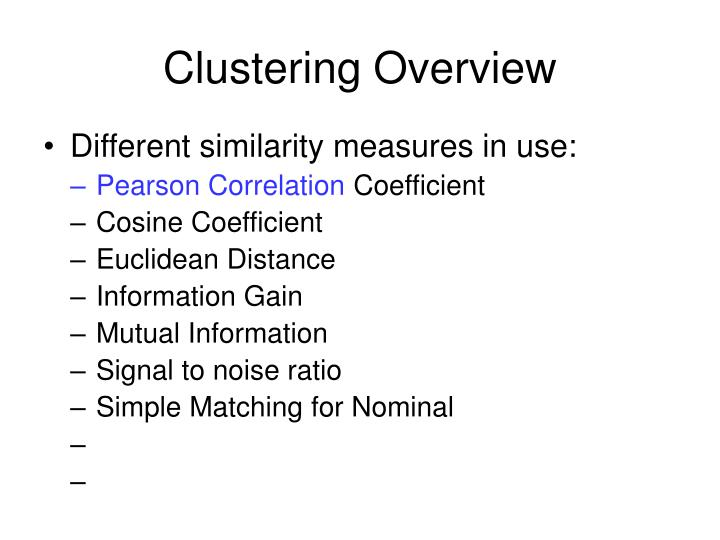 Clustering Overview