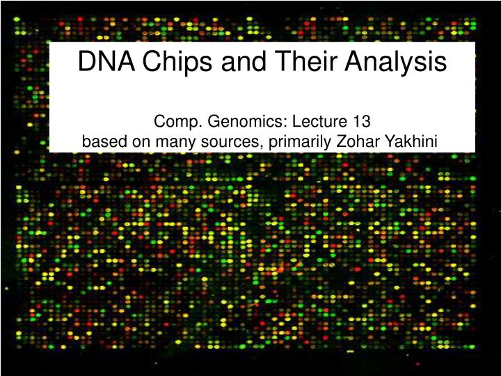 Dna chips and their analysis comp genomics lecture 13 based on many sources primarily zohar yakhini
