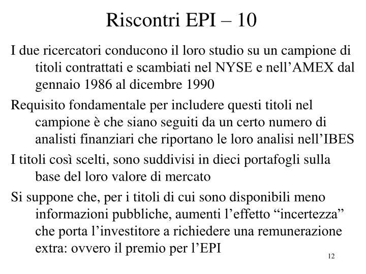Riscontri EPI – 10