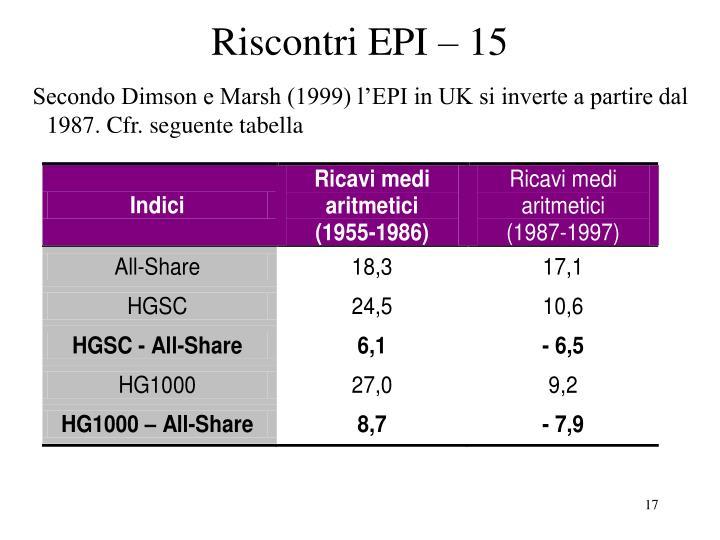 Riscontri EPI – 15
