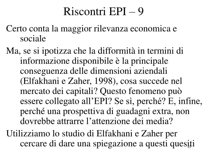 Riscontri EPI – 9