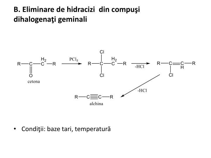 B. Eliminare de hidracizi  din compuşi dihalogenaţi geminali